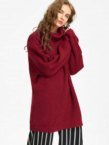 Oversized Turtleneck Chunky Sweater DEEP RED: Sweaters ONE SIZE ...