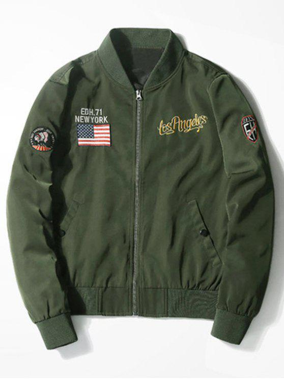 outfit Tiger Graphic Patch Bomber Jacket - ARMY GREEN 2XL