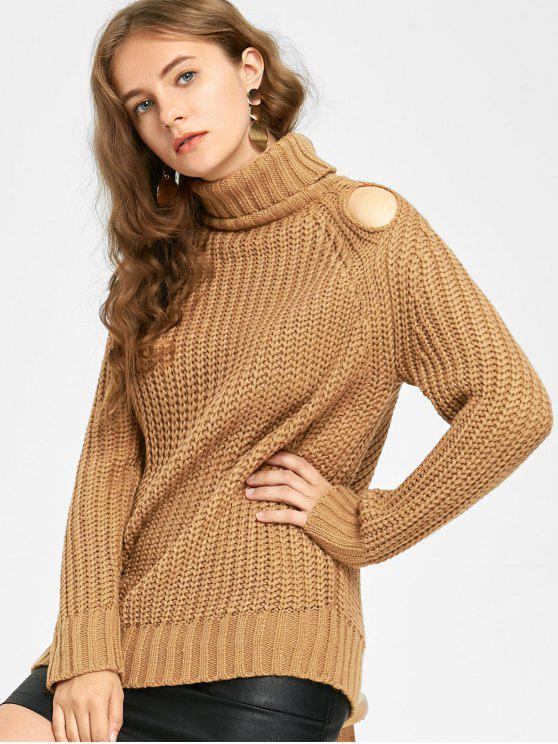 lady Turtleneck Chunky Cut Out Sweater - LIGHT COFFEE ONE SIZE