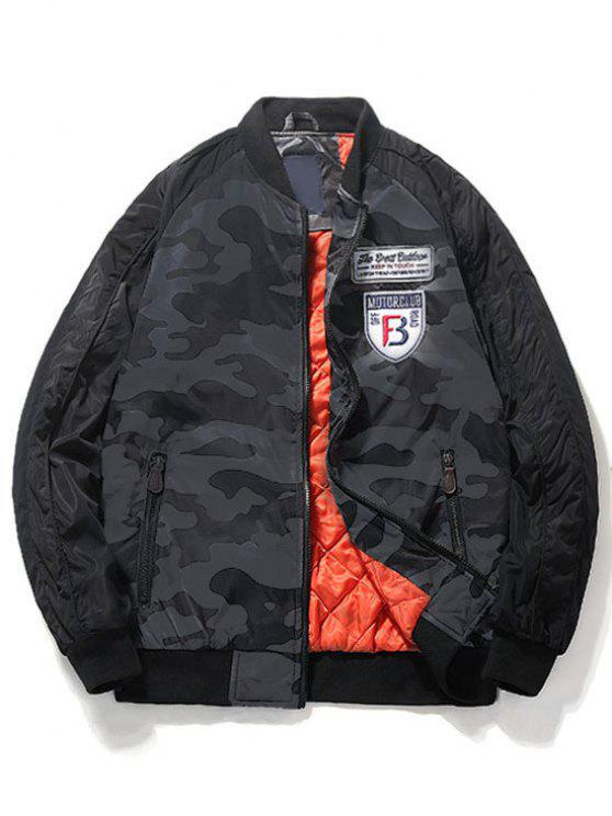 Camo Patch Bomber Jacket - Cinza 3XL