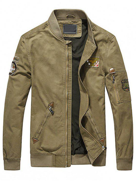 lady Map Embroidered Patch Jacket - KHAKI 2XL