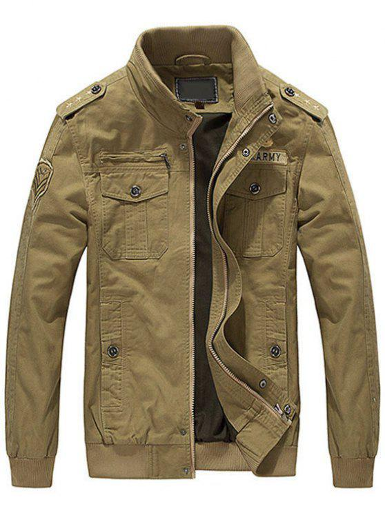 womens Patch Embroidered Jacket for Men - KHAKI M