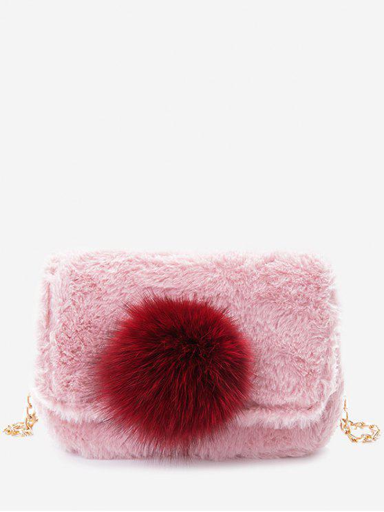 حقيبة كروسبودي مزينة بكرة من الفرو مع سلسلة - زهري