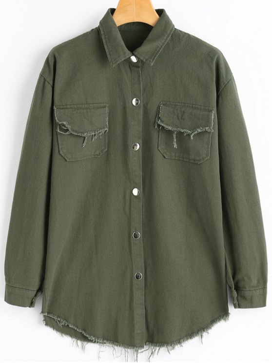 chic Frayed Hem Denim Jacket with Pockets - ARMY GREEN ONE SIZE
