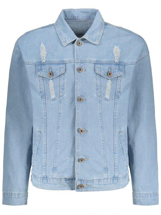8e867efb16 39% OFF  2019 Faded Wash Ripped Denim Jacket In LIGHT BLUE