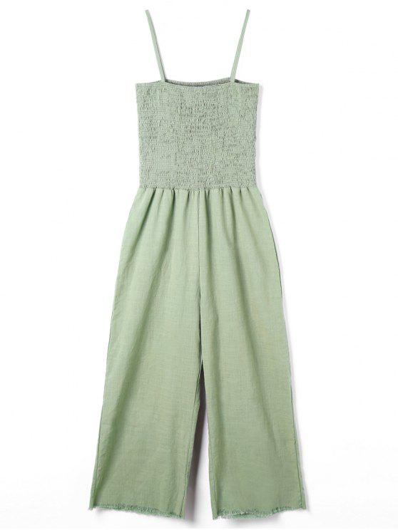 best Spaghetti Strap Wide Leg Jumpsuit - GREEN S