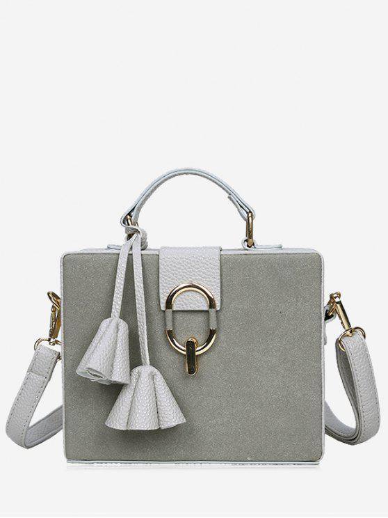 latest Pendant Box Shape Metal Detailed Handbag - GRAY