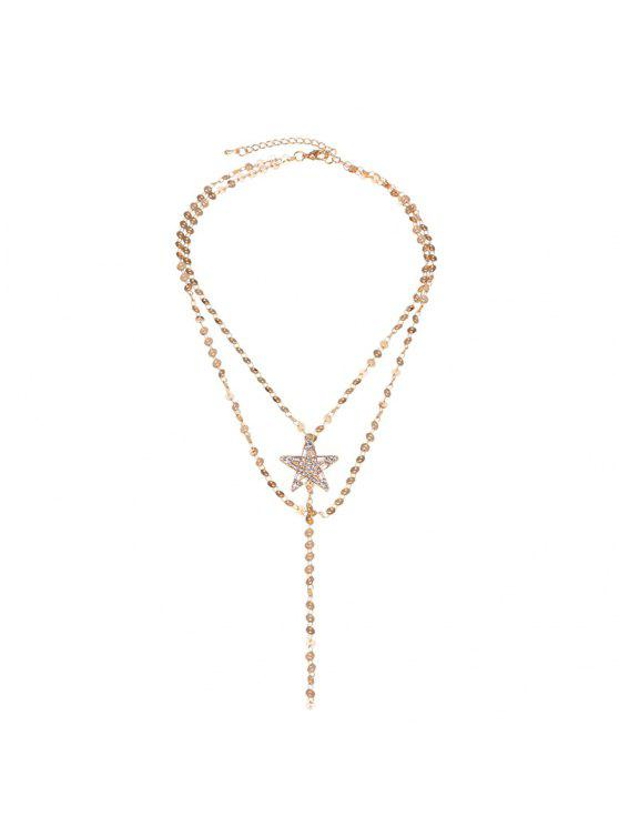 Faux Gem Star Longline Collier en couches - Or