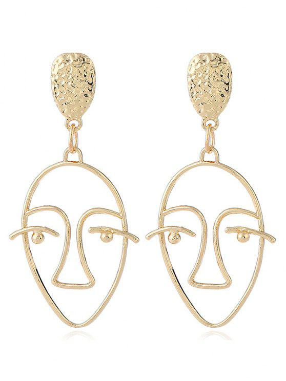 lady Hollow Design Face Geometric Stud Earrings - GOLDEN
