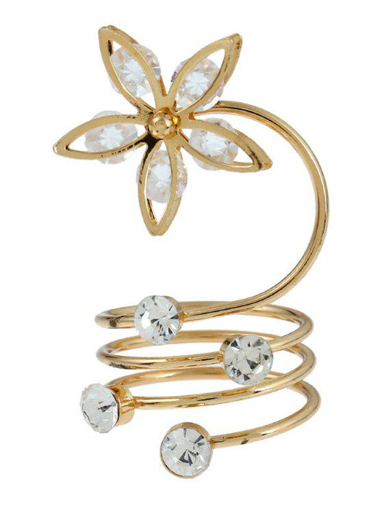 hot Rhinestone Flower Circle Full Finger Ring - GOLDEN