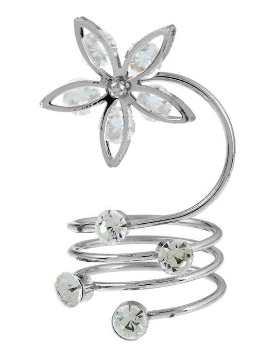 outfits Rhinestone Flower Circle Full Finger Ring - SILVER