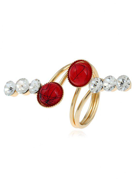 Faux Gem Rhinestone Full Finger Ring - Or