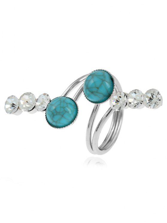 Faux Gem Rhinestone Full Finger Ring - Prata