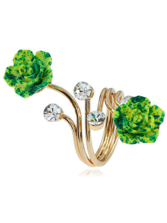 Legierungsrhinestone-Blumen-voller Finger-Ring - Golden