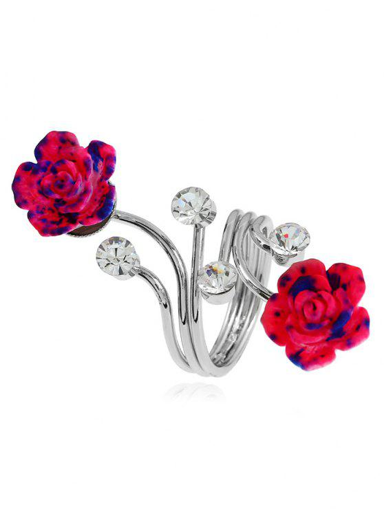 Alloy Rhinestone Flower Full Finger Ring - Prata