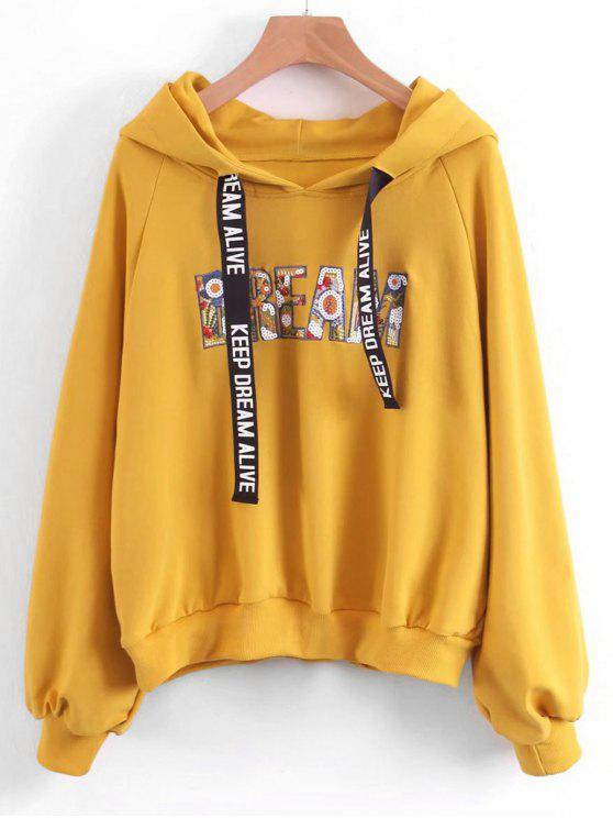 shop Oversized Letter Embroidered Sequined Hoodie - YELLOW L