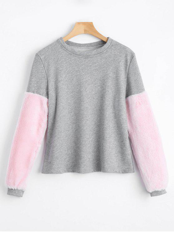 outfit Faux Fur Embellished Sweatshirt - GRAY M