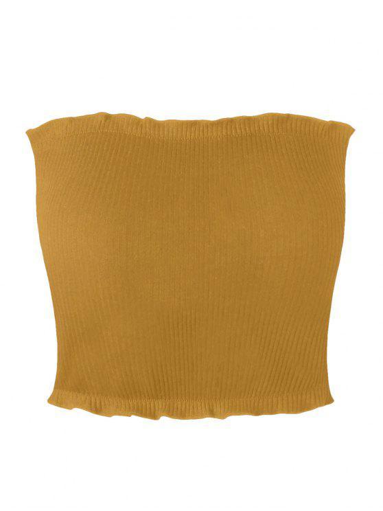 Top con tubo acanalado con cremallera - Amarillo L