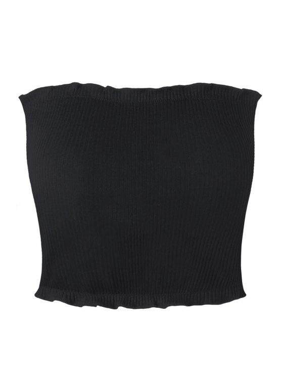 unique Ribbed Flounced Tube Top - BLACK M
