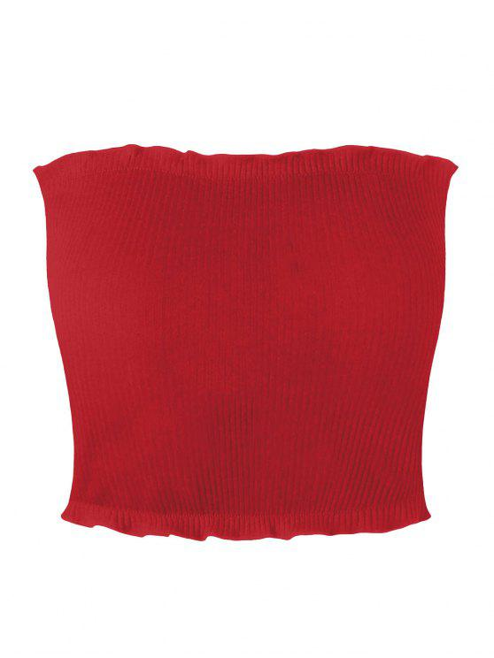 womens Ribbed Flounced Tube Top - RED XL