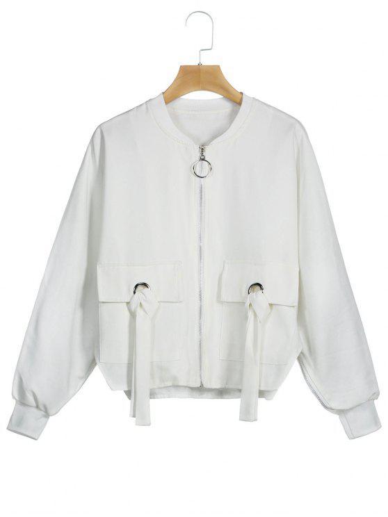 Blouson avec Fermeture Glissière et Manches Chauve-souris - Blanc XL