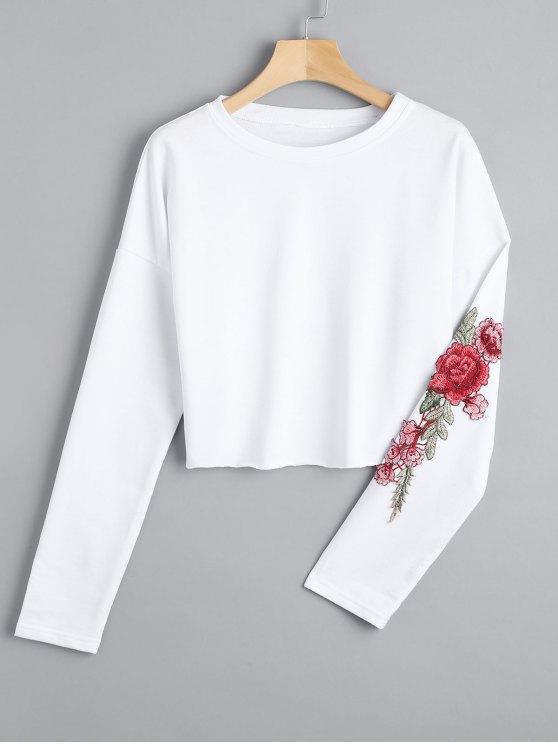 سويت شيرت مرقع مطرز بالأزهار مقصر - أبيض L