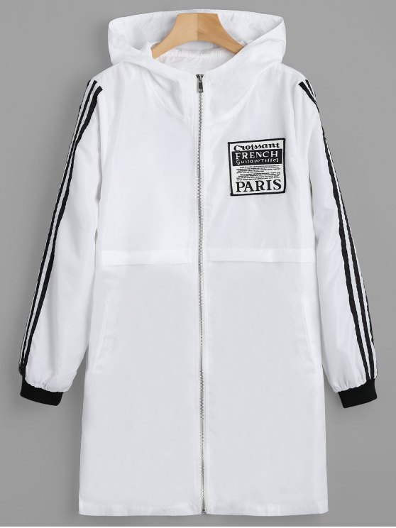 fashion Badge Patched Zip Up Hooded Coat - WHITE XL