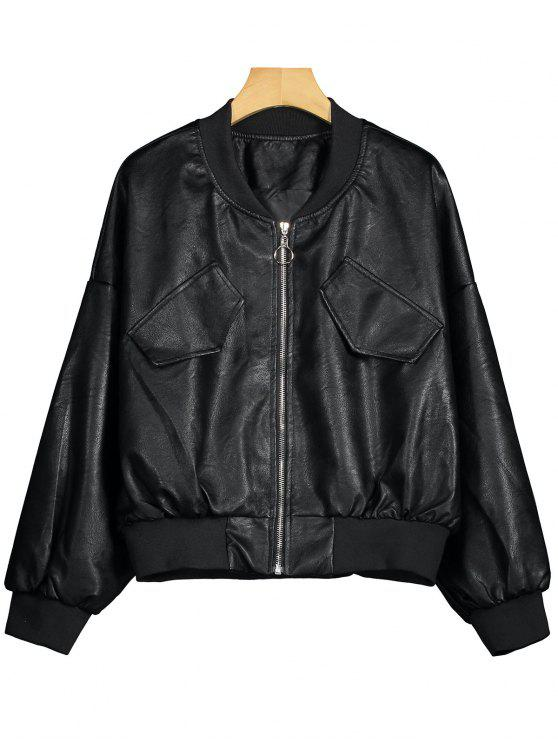Batwing Faux Leather Biker Jacket - Preto M