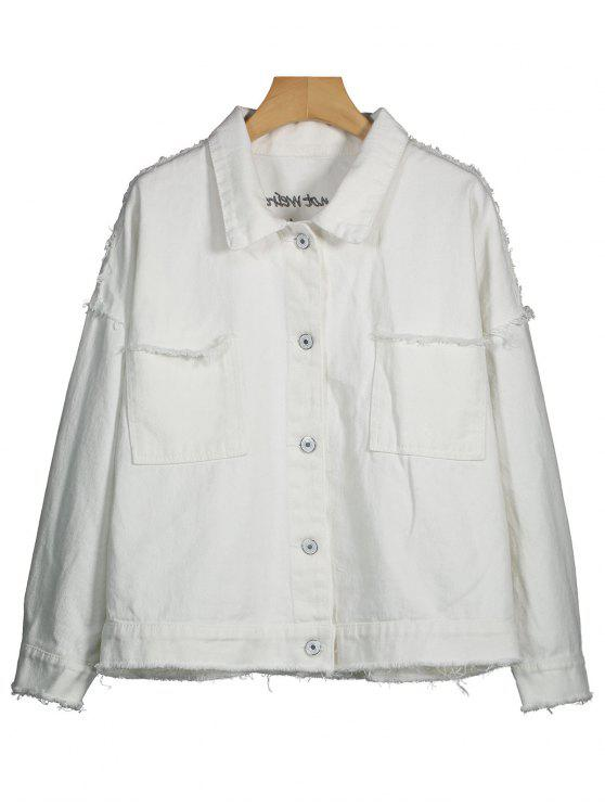 Lettre Brodé Distressed Denim Jacket - Blanc XL