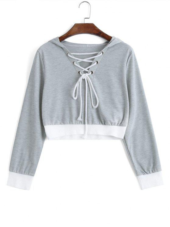 Cropped Contraste Lace Up Hoodie - Gris Claro S