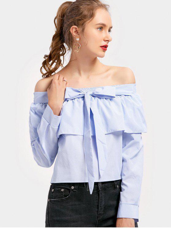 Blusa listrada de lótus com laço - Azul Claro XL