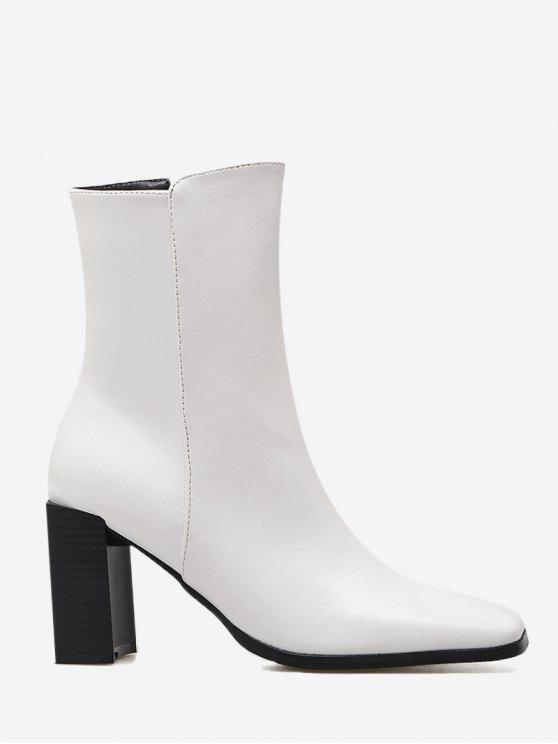 fancy Block Heel Square Toe Side Zipper Boots - WHITE 35