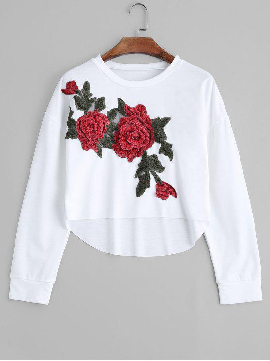 High Low Floral Embroidered Patched Sweatshirt - Blanco S