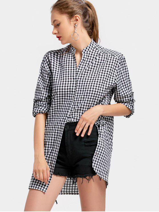 Lado con muescas Lace Up Checked Blusa - Comprobado L