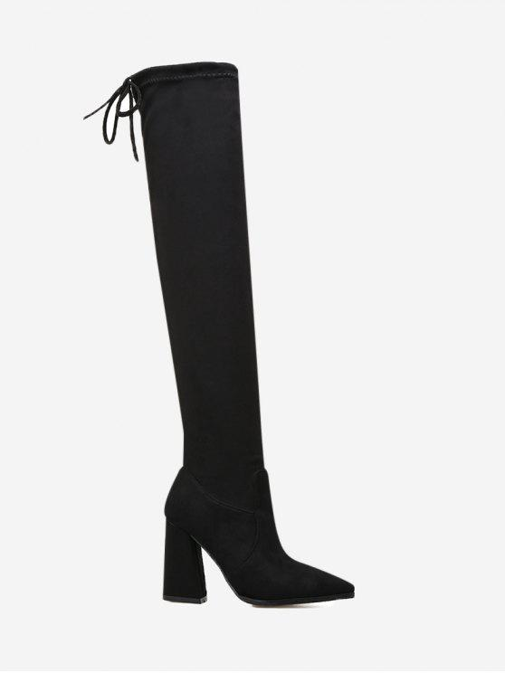 Pointed Toe Tie Back Thigh High Boots - Black 35