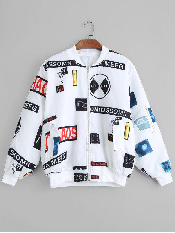 Jaqueta de bombardeiro remendado - Branco S