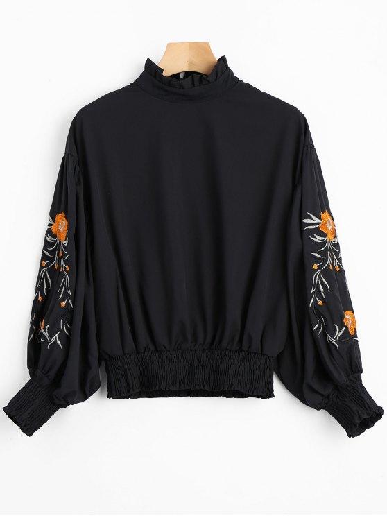 Blusa con volantes manga linterna floral - Negro S