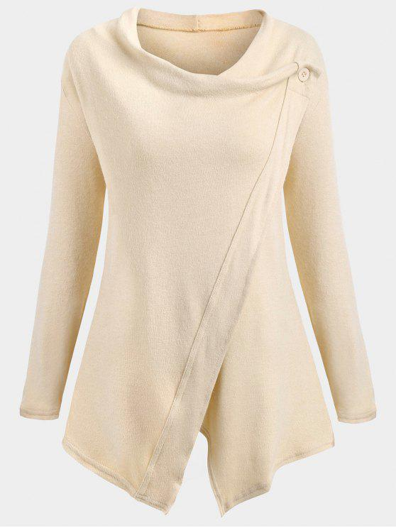 sale Knitted Slit Asymmetrical Sweatshirt - APRICOT L