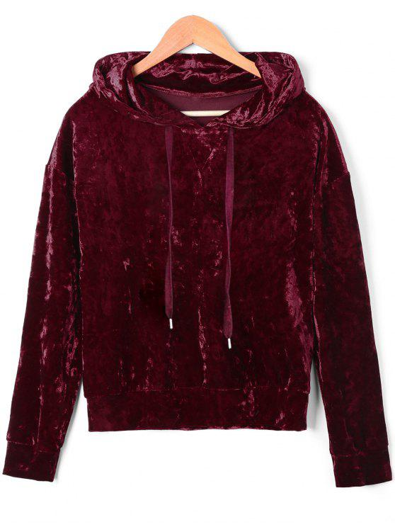 women's Drawstring Velvet Hoodie - DEEP RED M