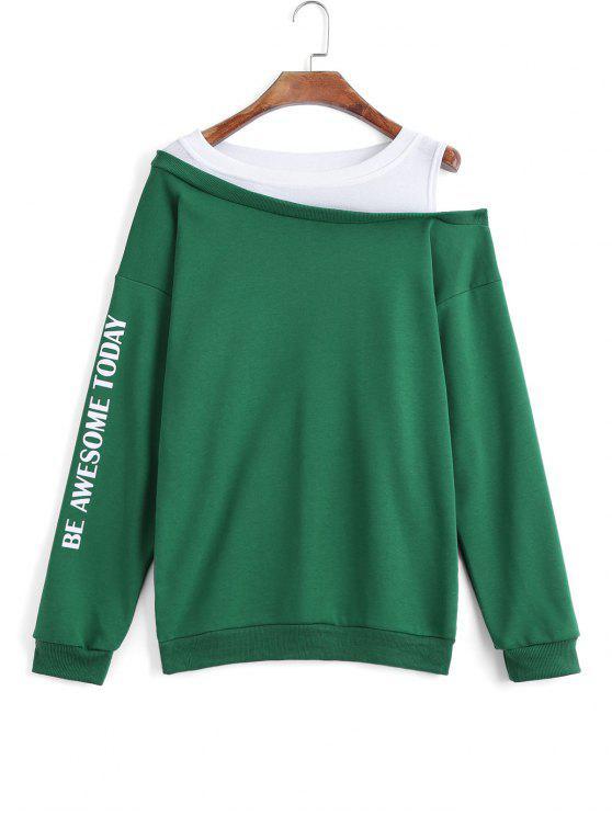 Sweat-shirt Bicolore à Lettre à Épaules Tombantes - Vert XL