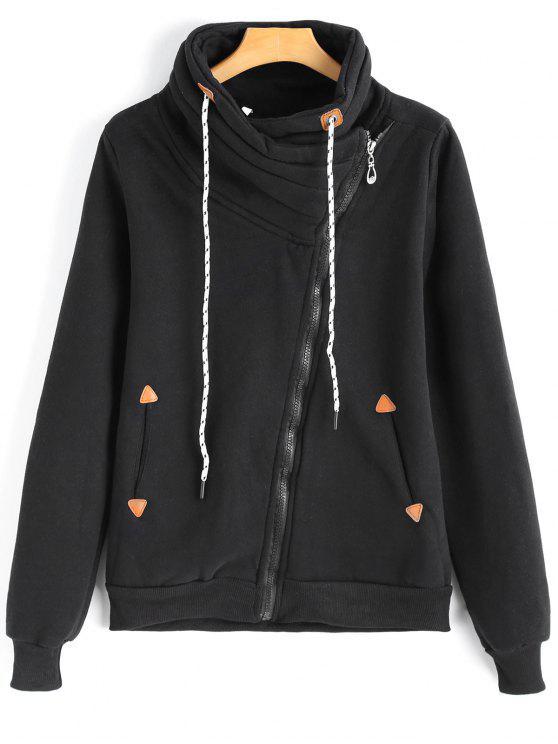 Chaqueta de cremallera asimétrica cuello con capucha y bolsillos - Negro M