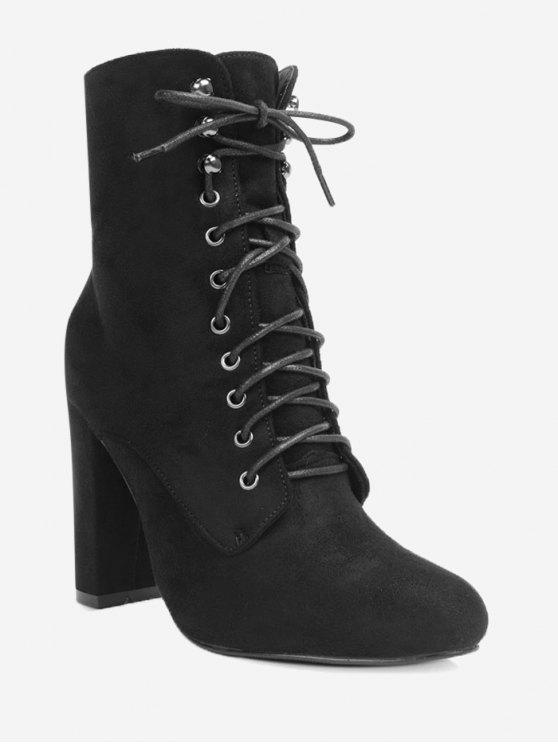 Chunky Heel Lace Up Ankle Boots - Preto 39
