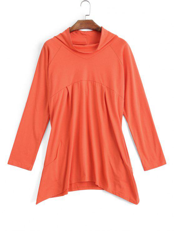 Sweat-shirt Asymétrique à Col Montant - Orange Rose S