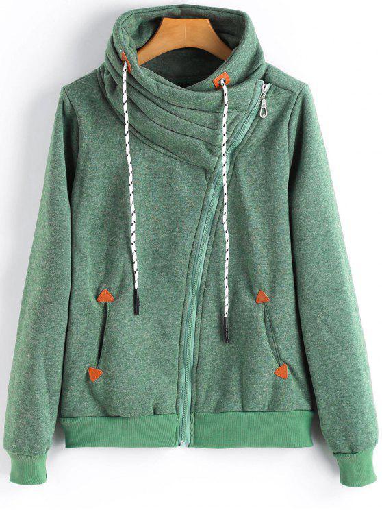 Chaqueta de cremallera asimétrica cuello con capucha y bolsillos - GREEN L