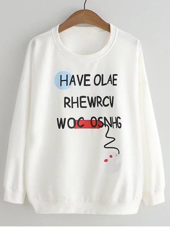 Sweat-shirt Imprimé Lettre et Palette Mignon - Blanc TAILLE MOYENNE
