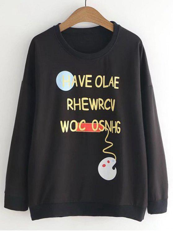 Sweat-shirt Imprimé Lettre et Palette Mignon - Noir Taille Unique
