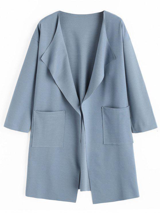 Manteau Col à Revers avec Poches - Bleu-gris 2XL