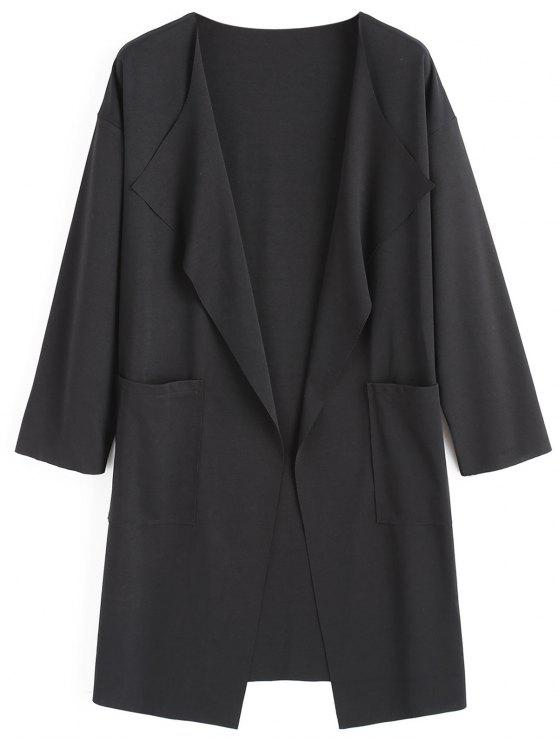 Manteau Col à Revers avec Poches - Noir 2XL