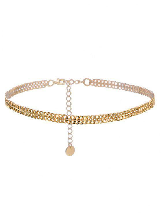 online Alloy Braid Disc Chain Necklace - GOLDEN