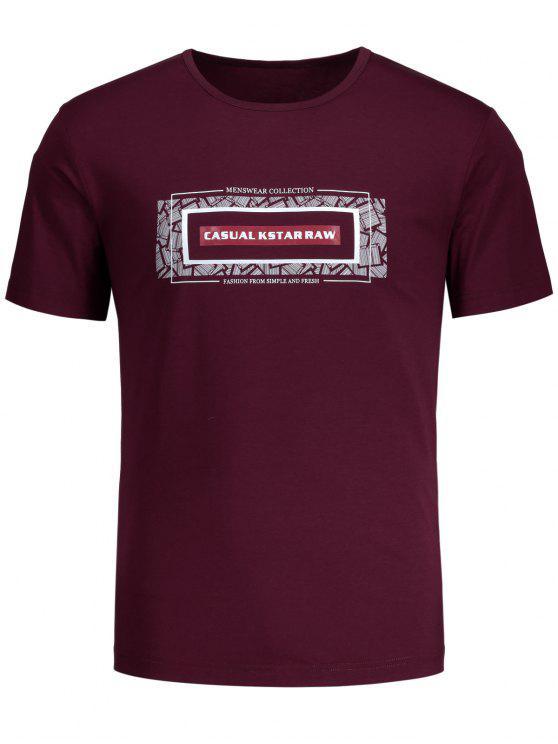 Kurzes Hülsen-Grafik-T-Shirt - Burgund L